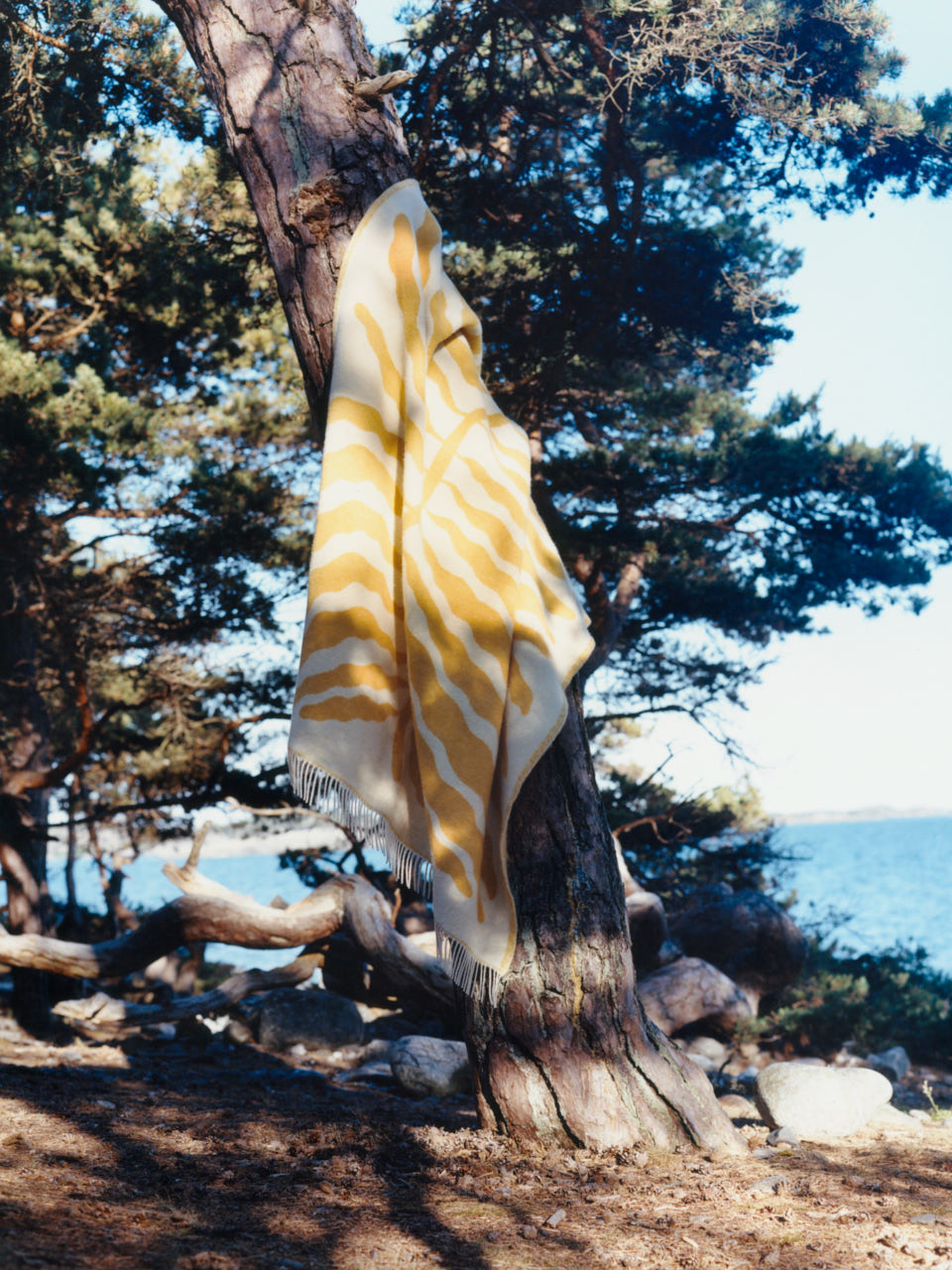 A blanket from ARKET Homeware hanging from a pine tree