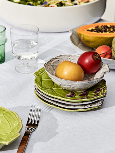 a2b574096 Bordallo Pinheiro bowls and plates; a Sabre Paris Teak fork and a glass